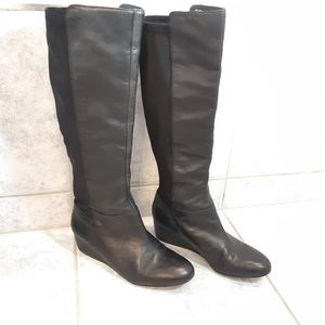 BCBG wedge knee high boots black size 6.5